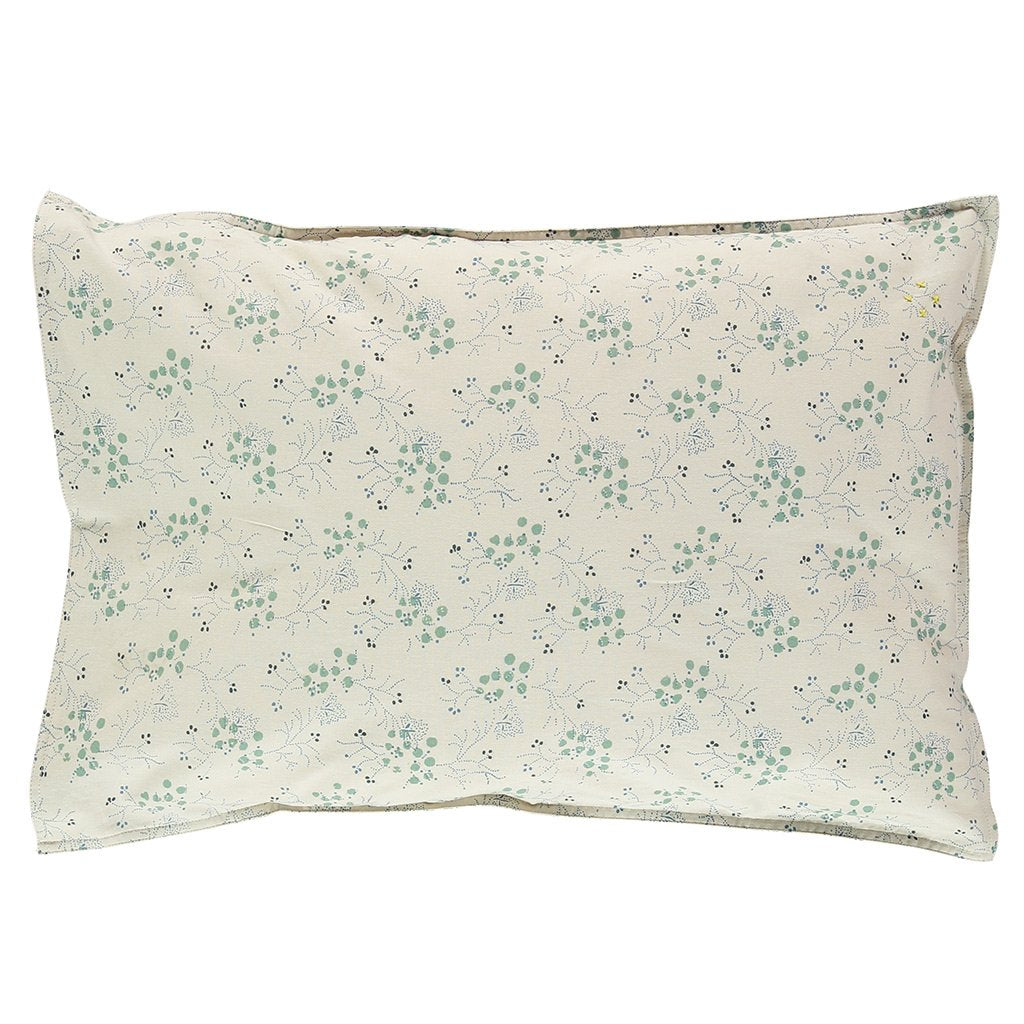Camomile London Cotton Pillowcase – Minako Floral Cornflower in Teal and Stone