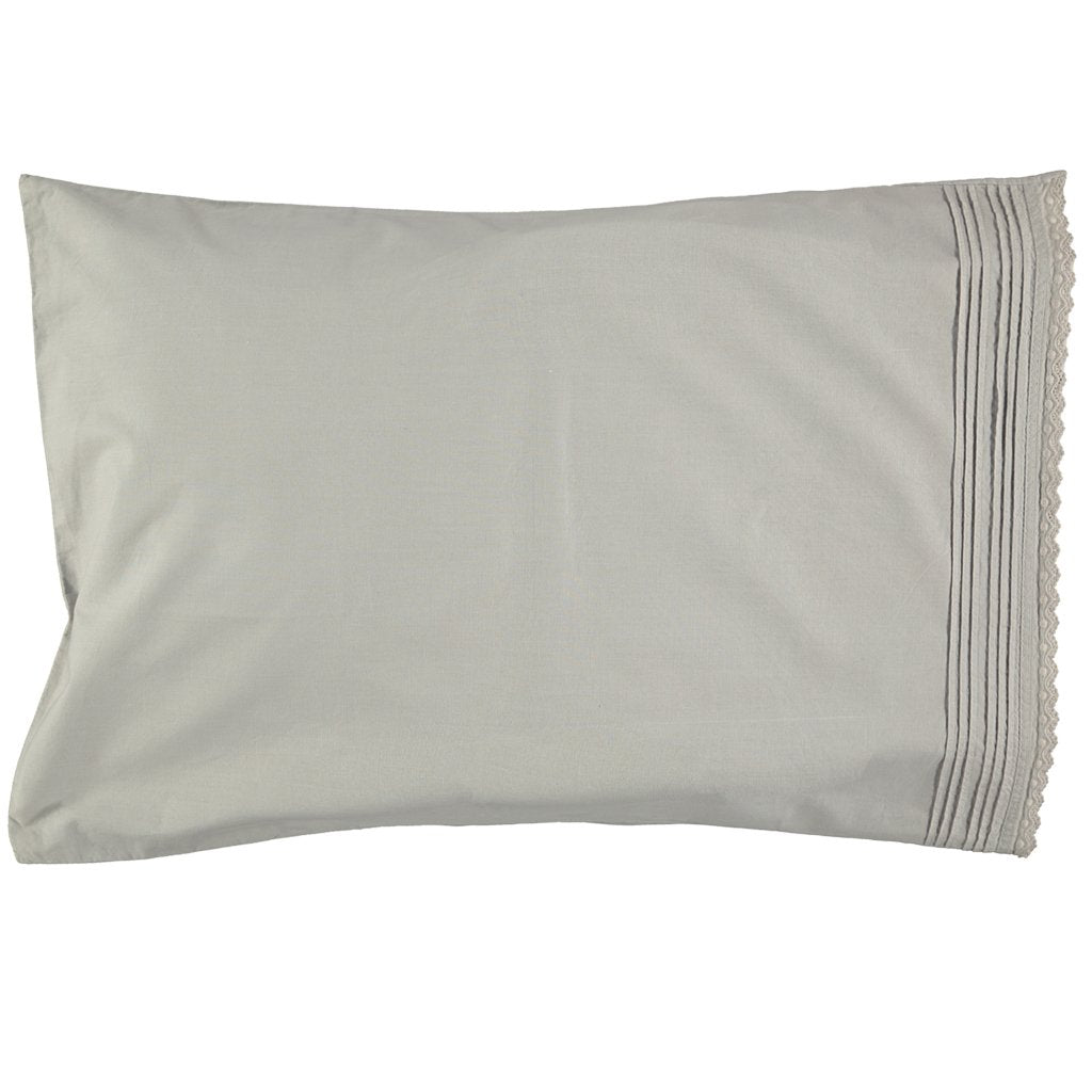 Camomile London Kids Bedding Pin Tuck Embroidered Pillowcase - Feather Grey