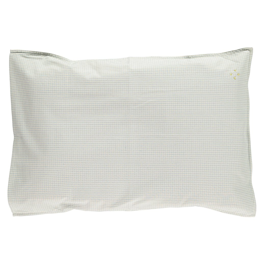 Camomile London Cotton Pillowcase – Double Check in Blue / Off White