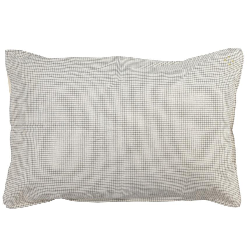 Camomile London Cotton Pillowcase – Double Check in Grey / Off White