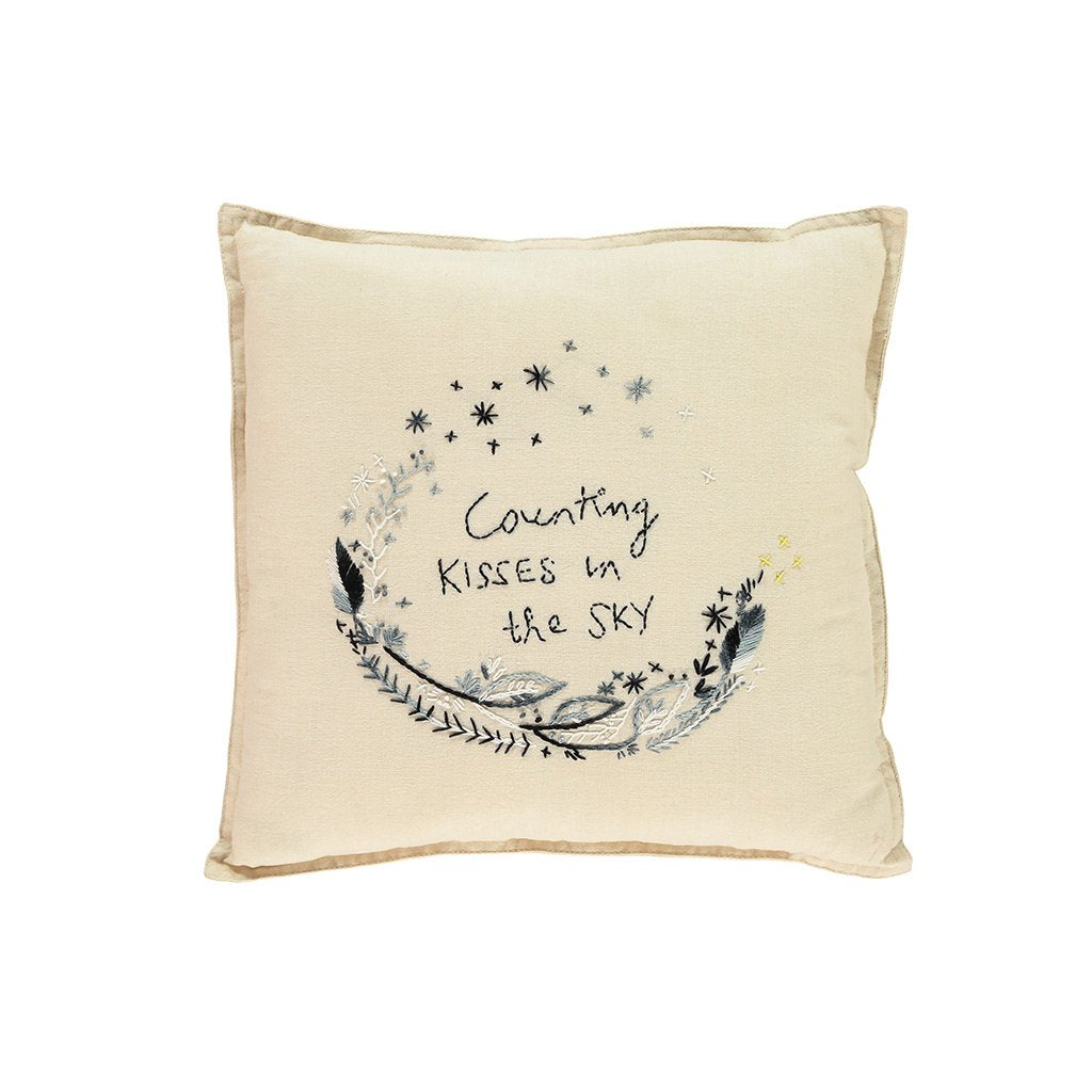 Camomile London Counting Kisses in the Sky Square Cushion – Cream
