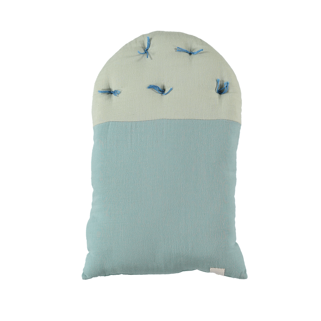 Camomile London Small House Cushion – Light Teal Body, Mint Roof