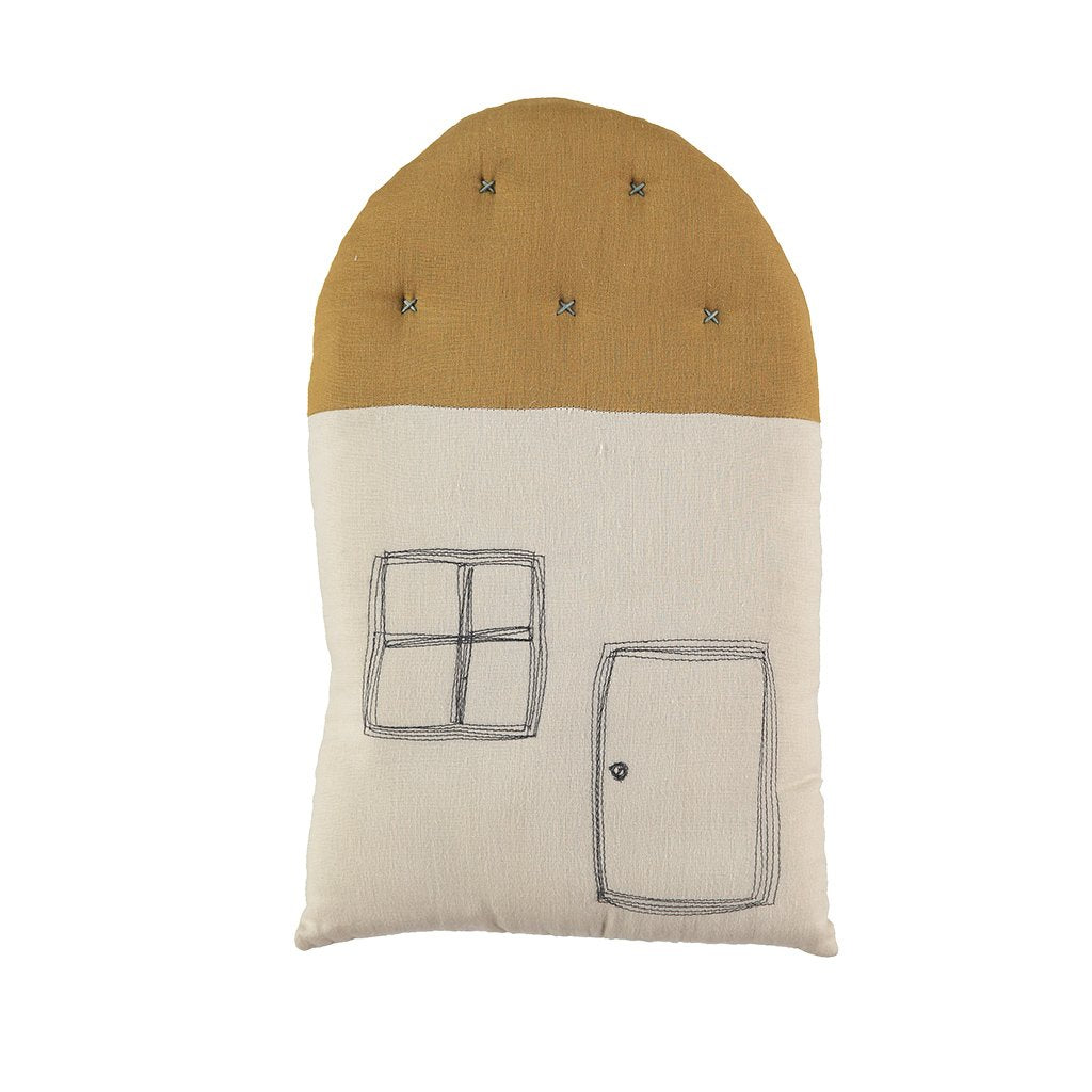 Camomile London Small House Cushion – Stone Body, Ochre Roof