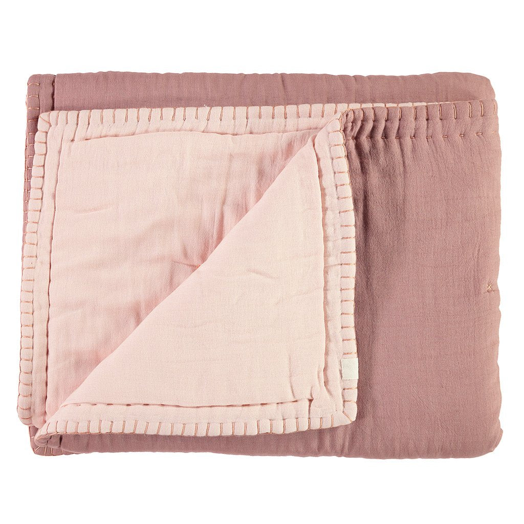 Camomile London Hand Embroided Reversible Quilt / Blanket - Blush and Pearl Pink