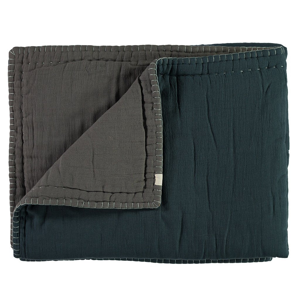 Camomile London Hand Embroided Reversible Quilt / Blanket - Midnight Blue and Slate