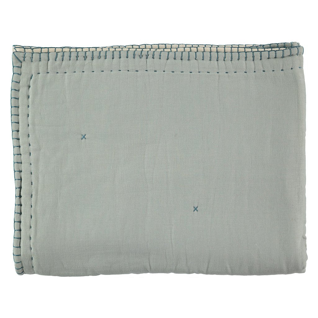 Camomile London Hand Embroided Reversible Quilt / Blanket - Powder Blue and Stone