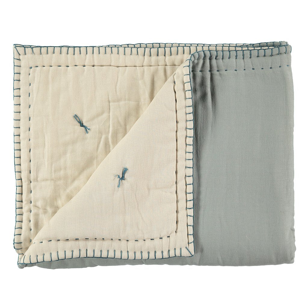 Camomile London Hand Embroided Reversible Quilt / Blanket  Powder Blue and Stone