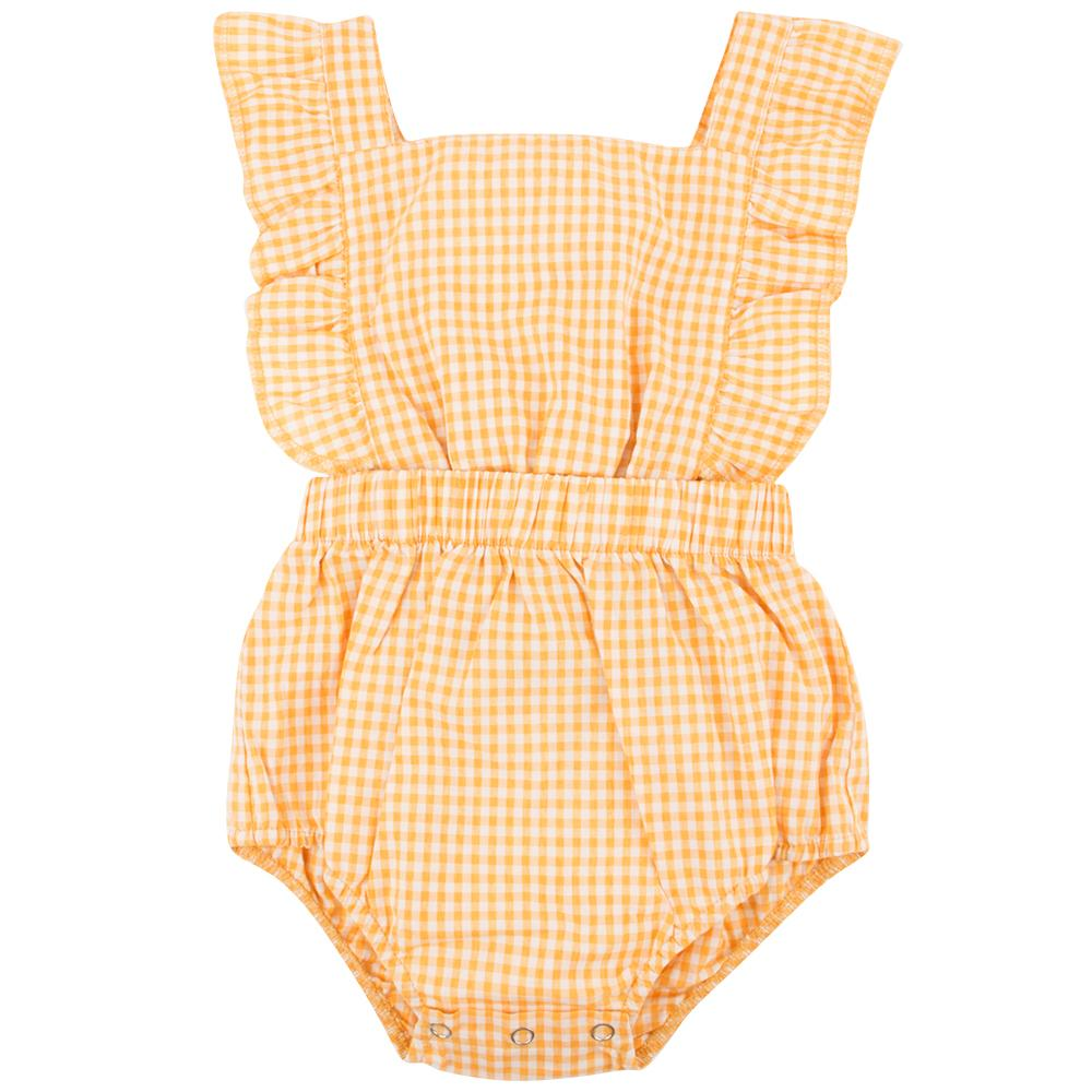 Ponchik Ruffle Back Romper - Lemon Gingham