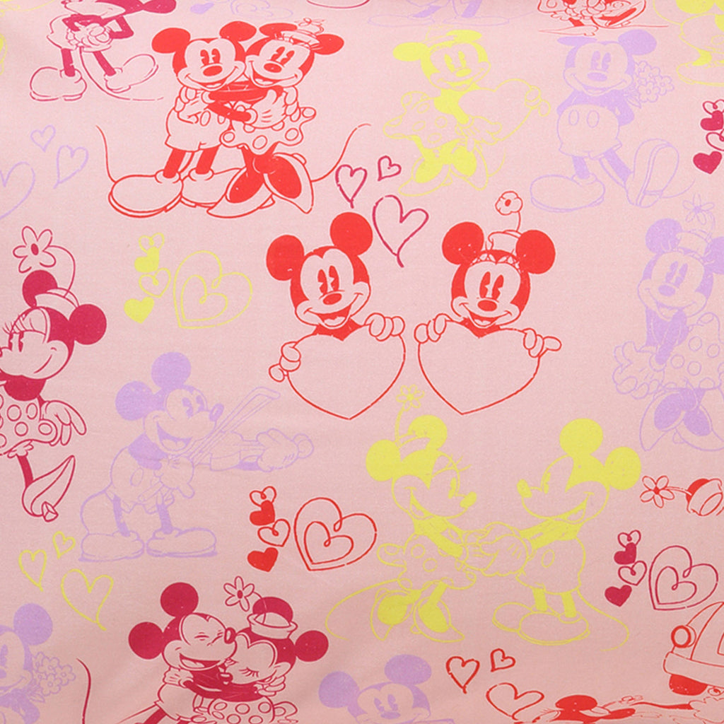 Kip & Co Disney Collaboration  Mickey & Minnie Love Story Pink Cot Sheet