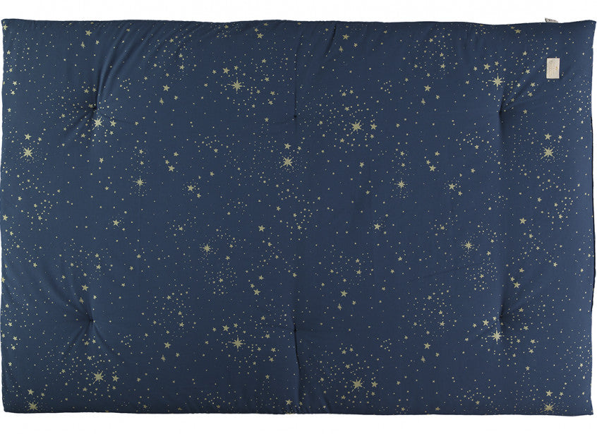 Nobodinoz Eden Futon Play Mat Gold Stars on Night Blue Background
