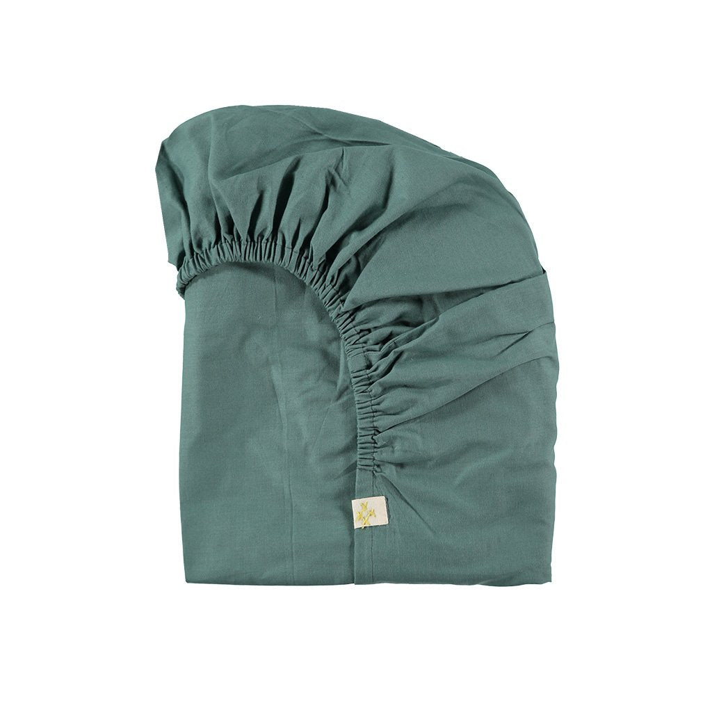 Camomile London Organic Cotton Fitted Sheet – King Single Teal