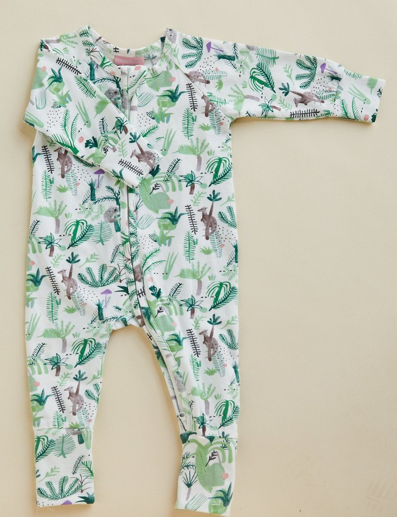 Halcyon Nights Baby Clothes  Fern Gully Longsleeve Onesie Zip Suit