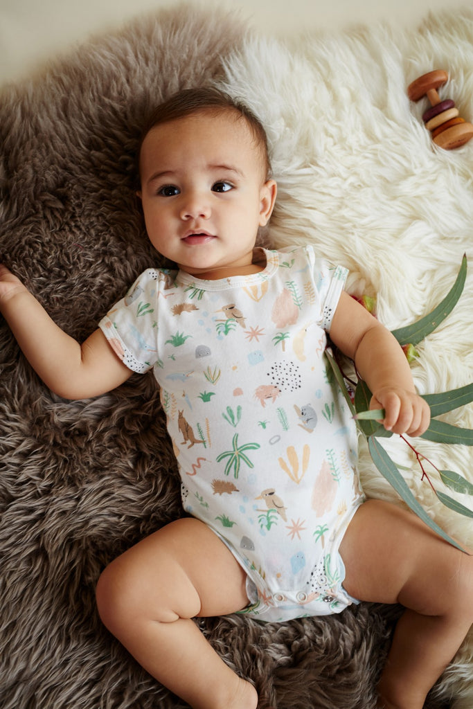 Halcyon Nights Baby Clothes  Outback Dreamers Shortsleeve Bodysuit