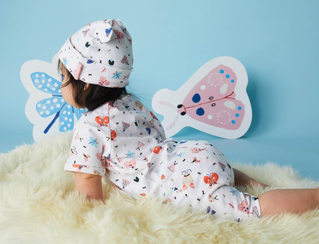 Halcyon Nights Baby Clothes  Love Bug Butterfly and Beetle Summer Romper