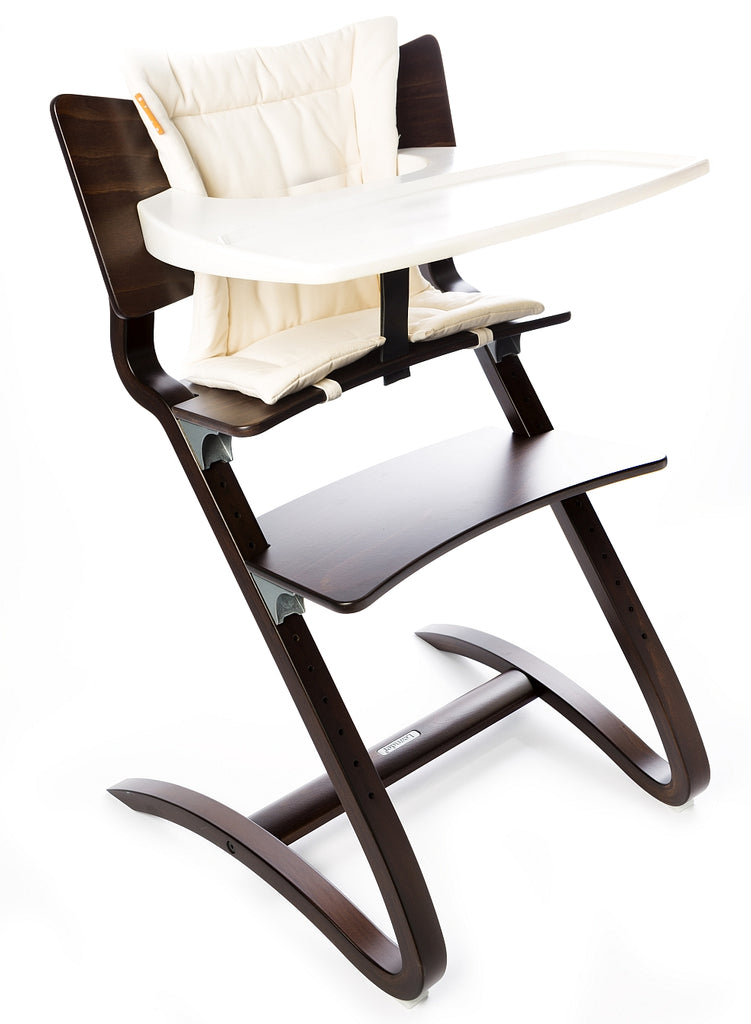 Leander High Chair in walnut including tray table and cushion