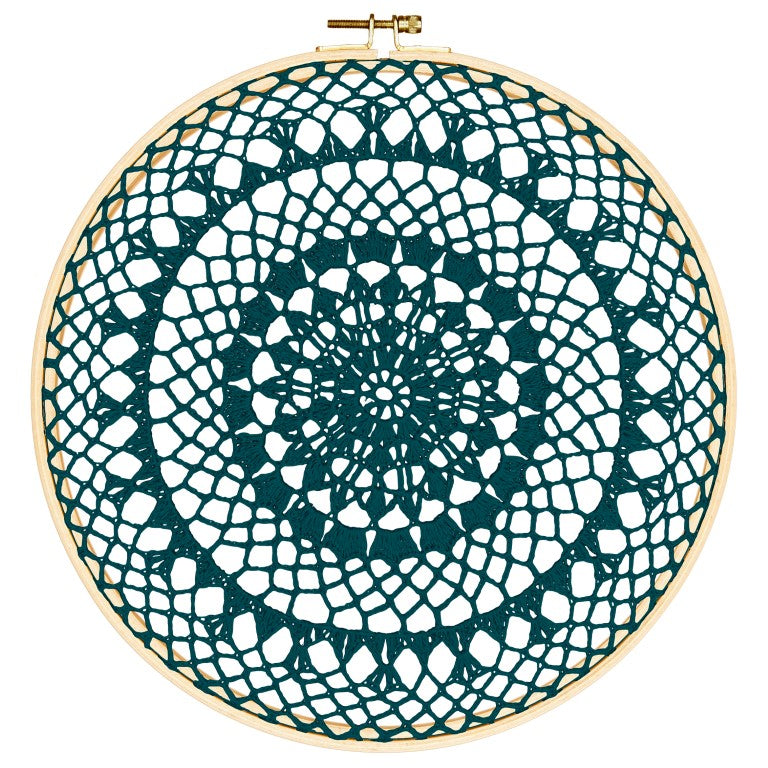 Numero 74 Wall Art - Hoop Crochet Fire - Teal Blue