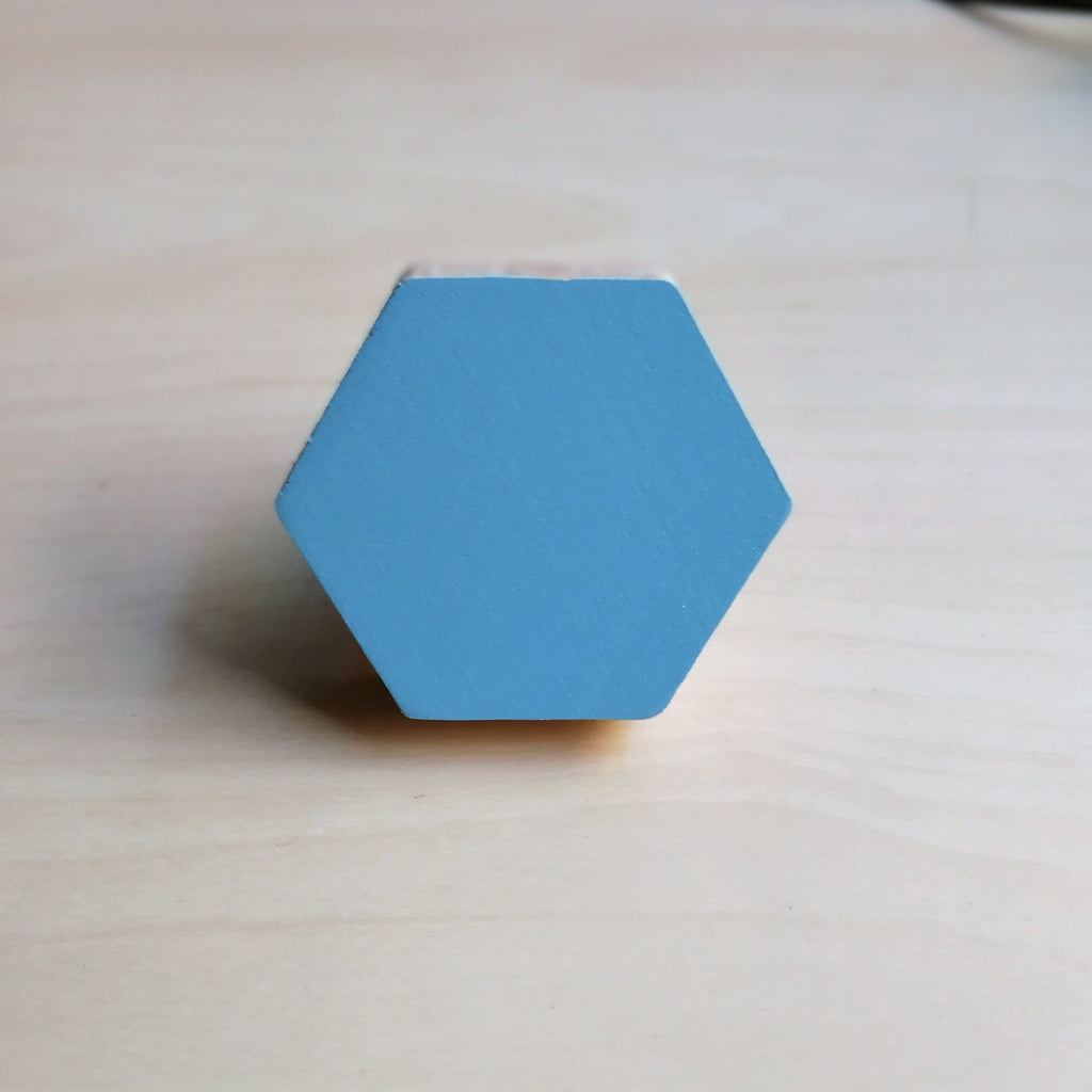 Knobbly Hexagon Wooden Wall Hook  Morning Sky Blue