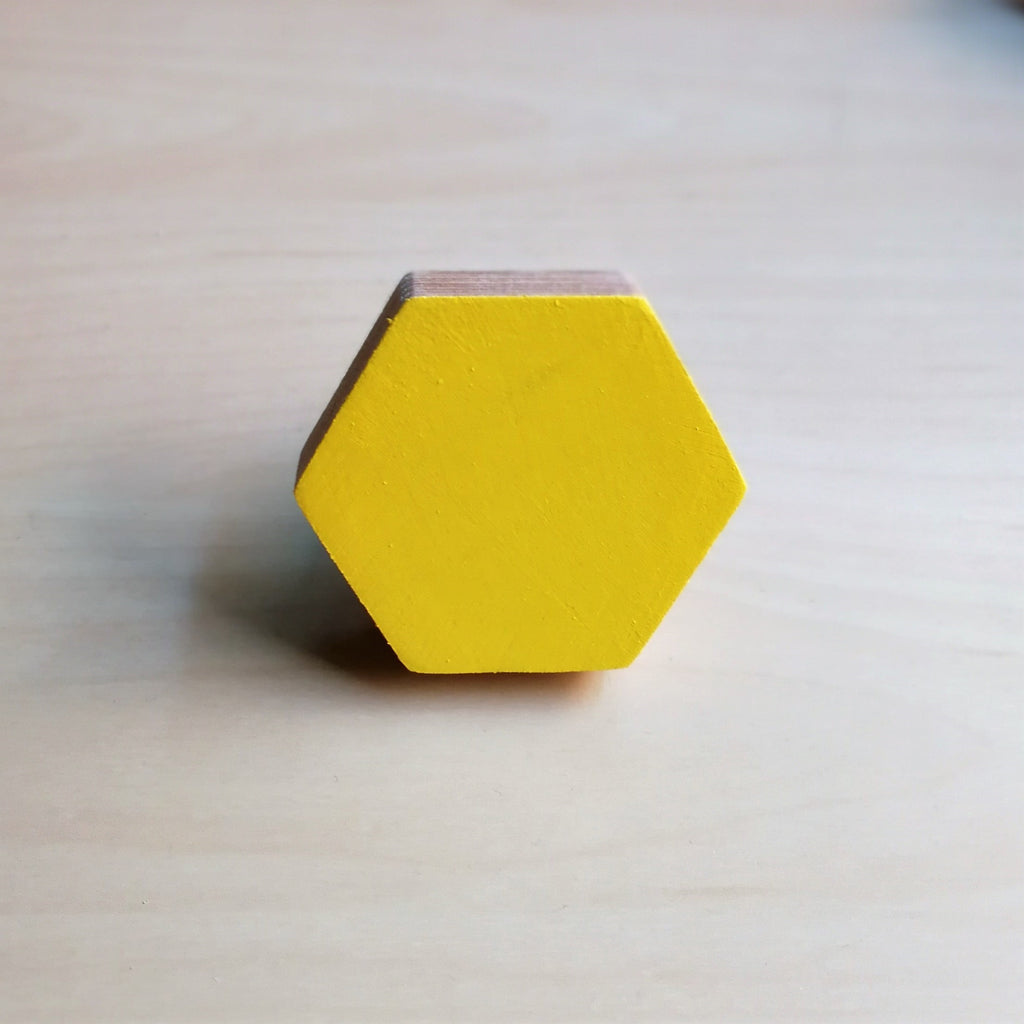 Knobbly Hexagon Wooden Wall Hook  Yellow