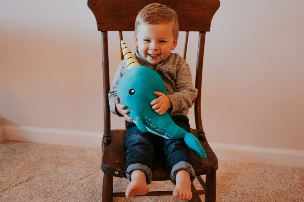 Elly Lu Organic Cotton Animal Soft Toys - Norman The Narwhal
