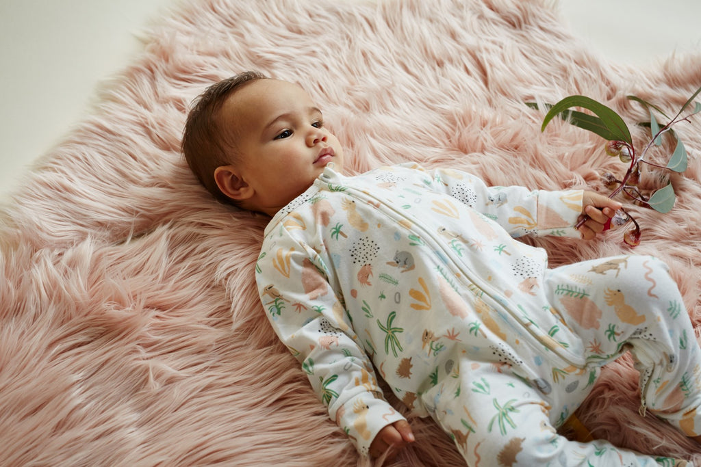Halcyon Nights Baby Clothes  Outback Dreamers Longsleeve Onesie Zip Suit