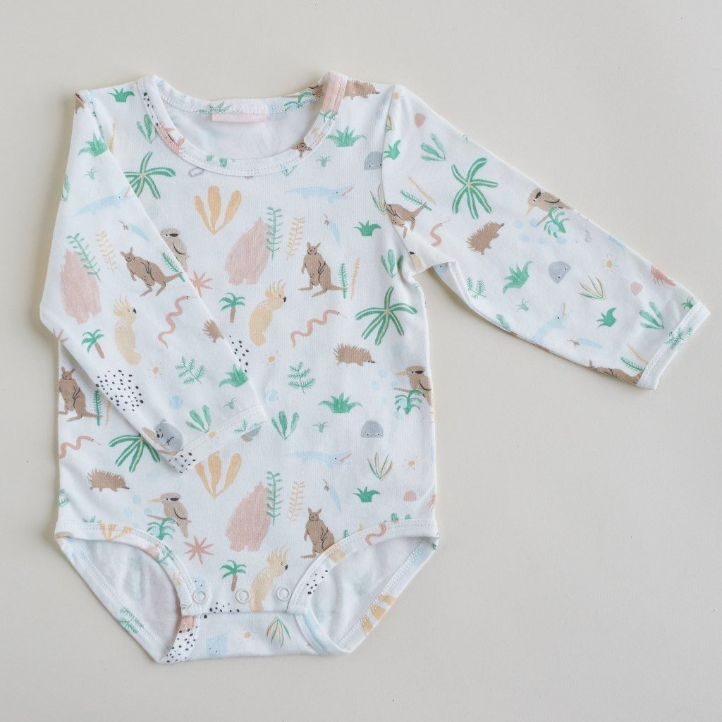 Halcyon Nights Baby Clothes  Outback Dreamers Longsleeve Bodysuit