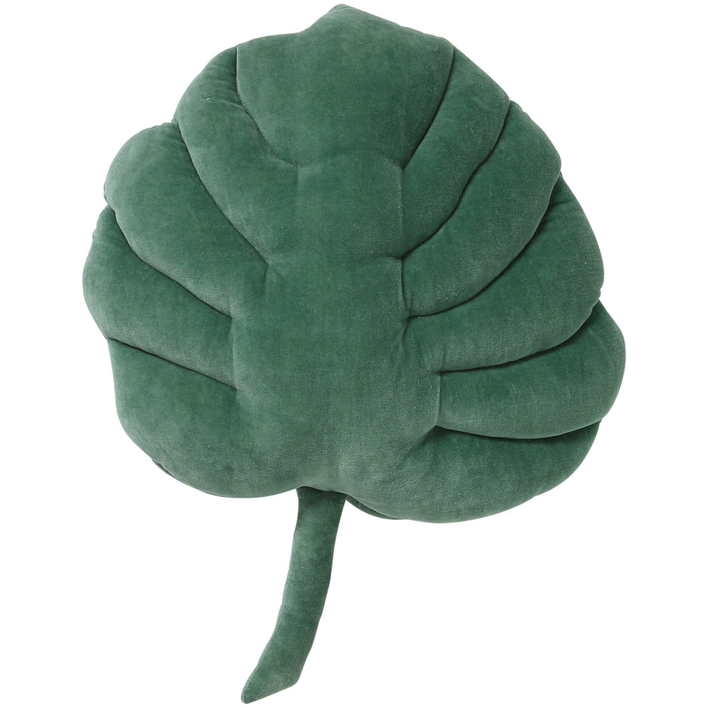 Kip and Co Velvet Cushion - Monsterea Green