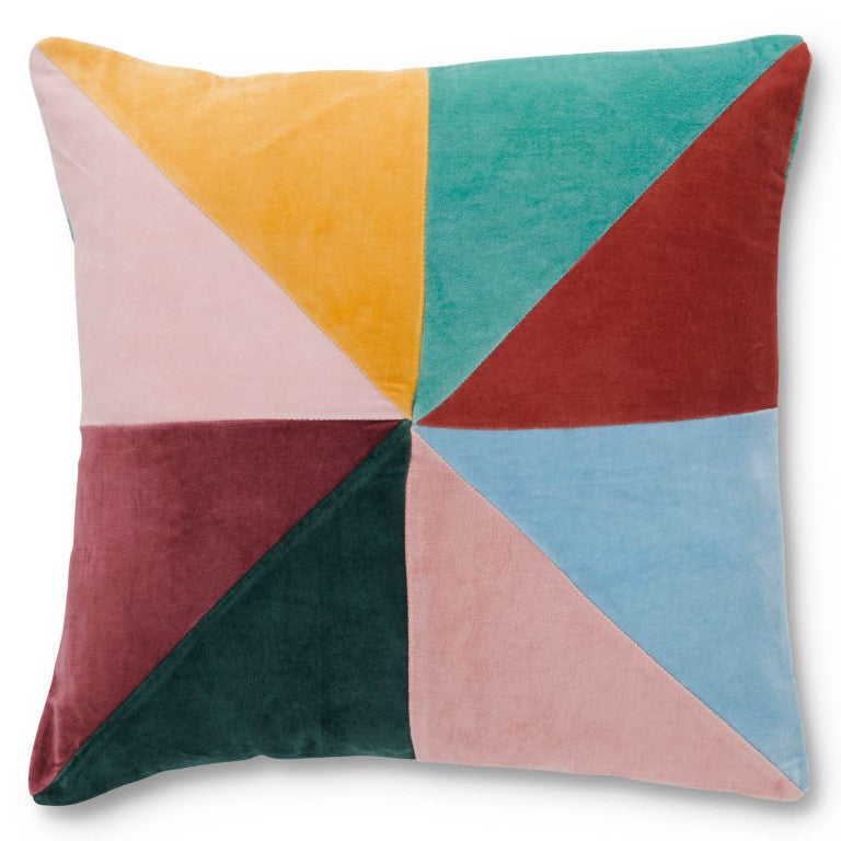 Kip & Co Velvet Cushion - Panelled Multi Colour
