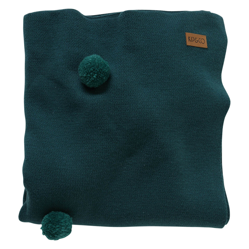 Kip & Co Dark Emerald Pom Pom Blanket