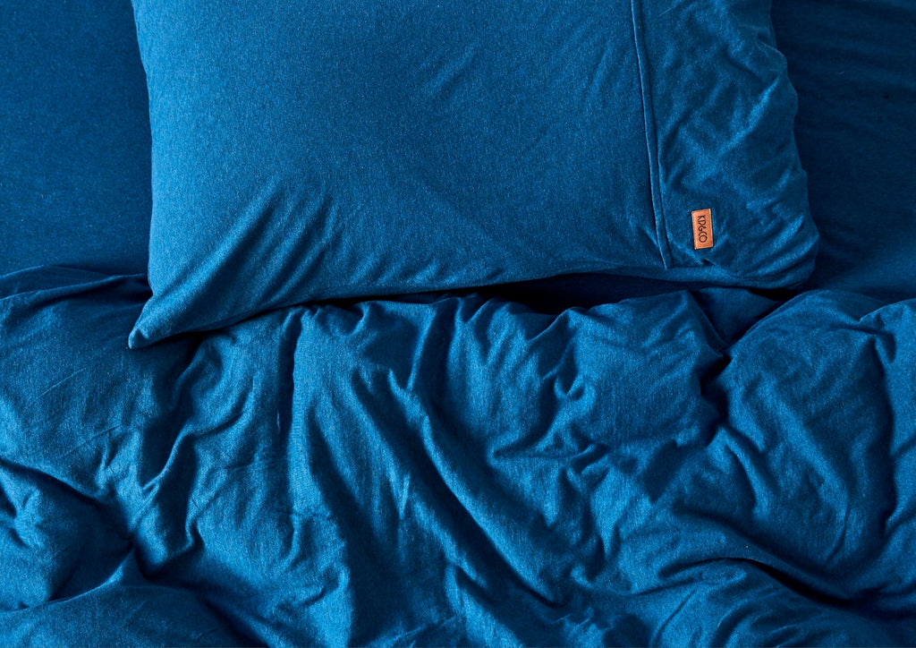 Kip & Co Kids Bedding - Petrol Blue v Grey Marle Reversible Jersey Single Quilt Cover