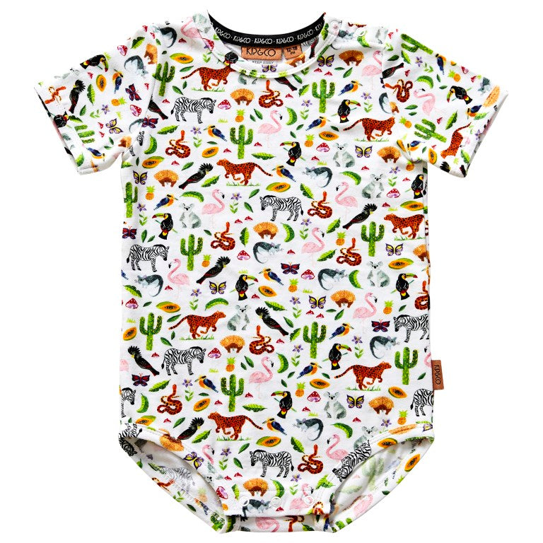 Kip & Co Organic Cotton Short Sleeve Bodysuit - In The Jungle