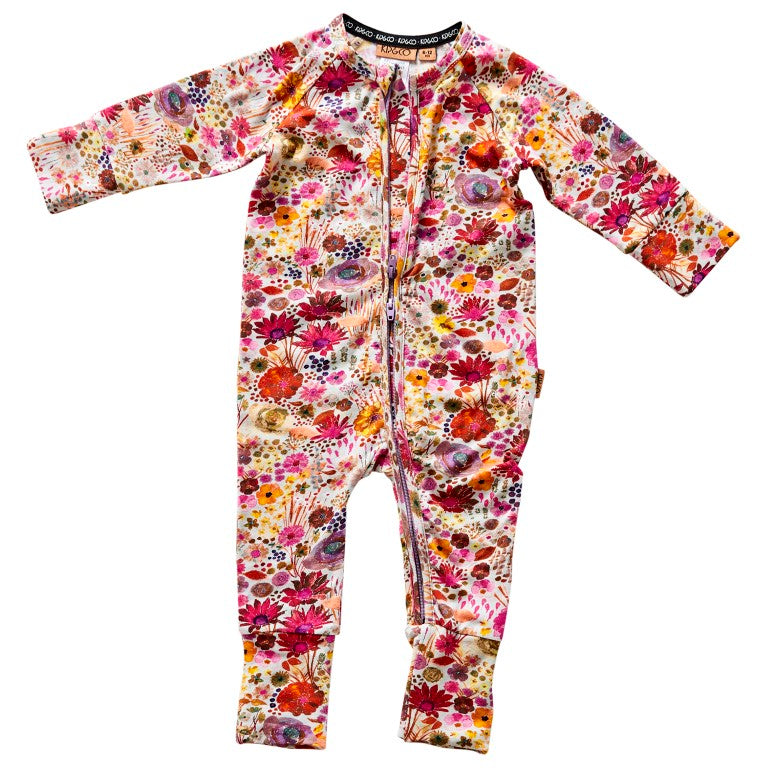 Kip & Co Organic Cotton Long Sleeve Zip Romper - Field of Dreams