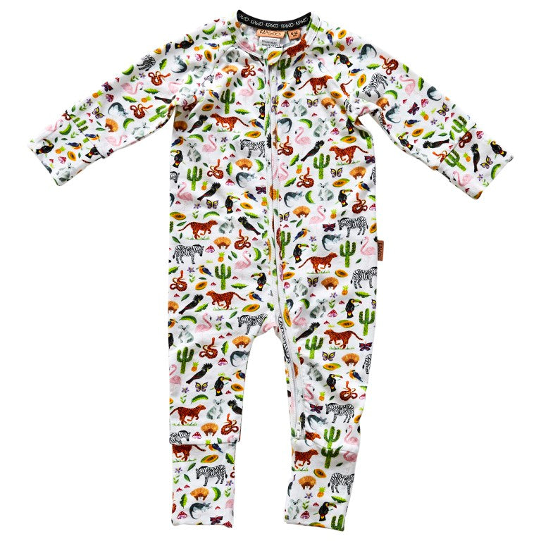 Kip & Co Organic Cotton Long Sleeve Zip Romper - In The Jungle
