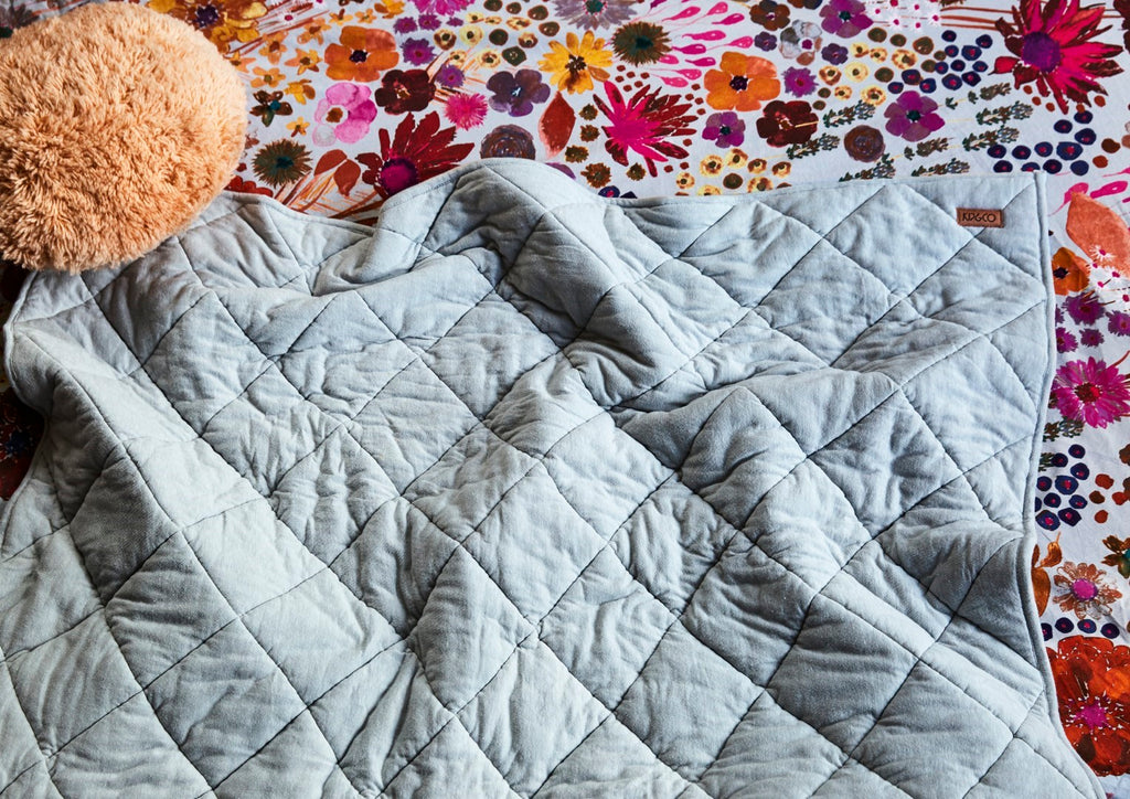 Kip & Co Grey Marle Quilted Jersey Bedspread Comforter - Single