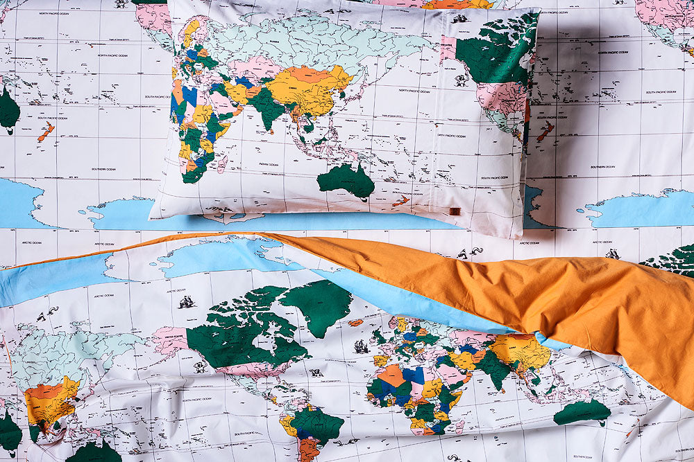 Kip & Co World Map Flight Path Cotton Fitted Cot Sheet