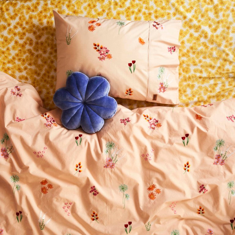 Kip & Co Kids Bedding - Wild Flower Embroidered Cotton Single Quilt Cover