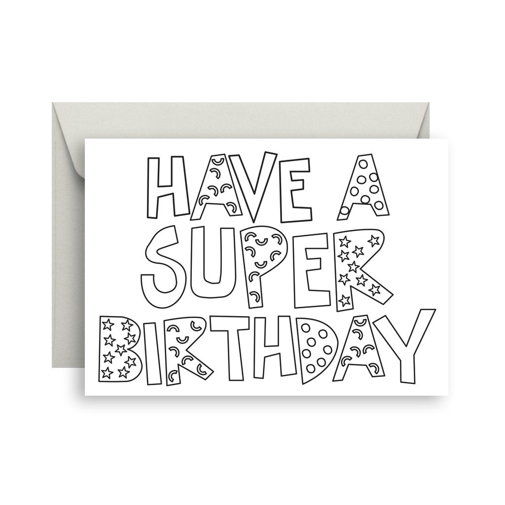 Sprout and Sparrow  Super Birthday Colour In Greeting Card