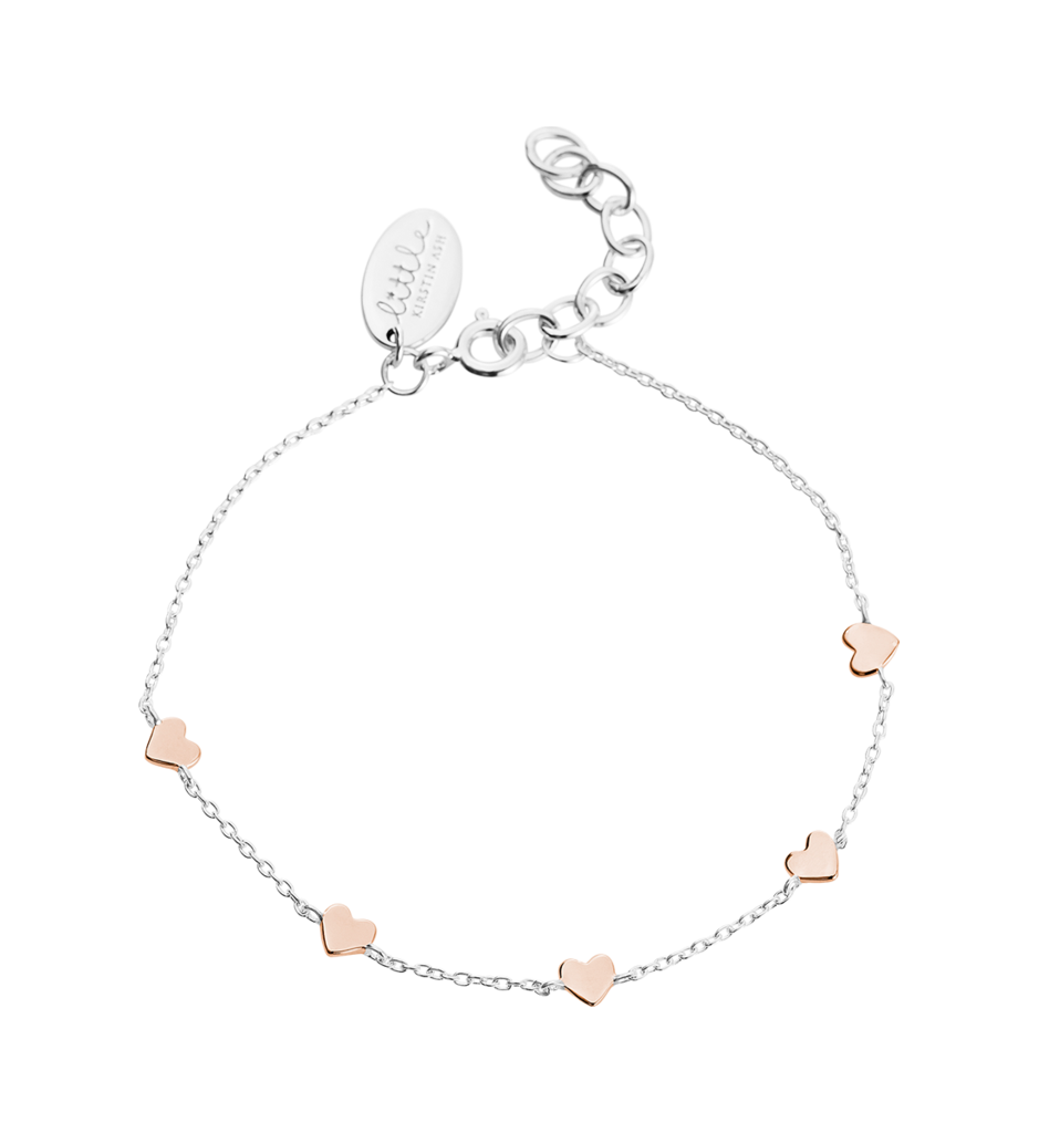 Little Kirstin Ash Kids Jewellery  Little Heart Bracelet in Silver and Rose Gold