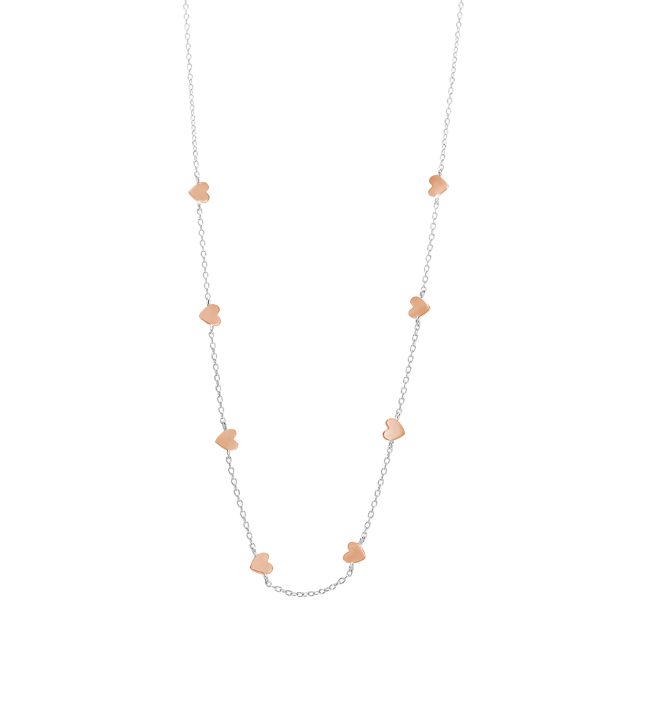 Little by Kirstin Ash - Little Heart Necklace in Silver and Rose Gold