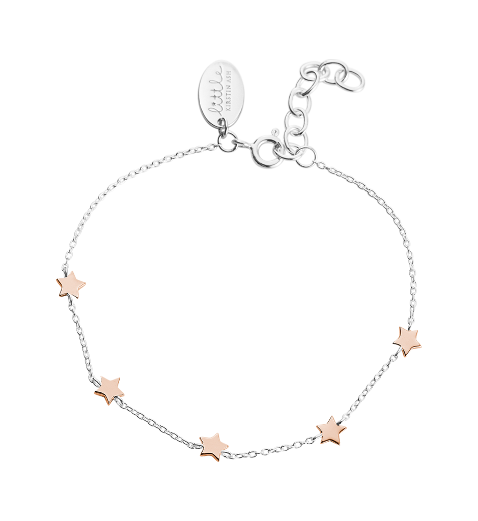 Little by Kirstin Ash - Little Star Bracelet in Silver and Rose Gold