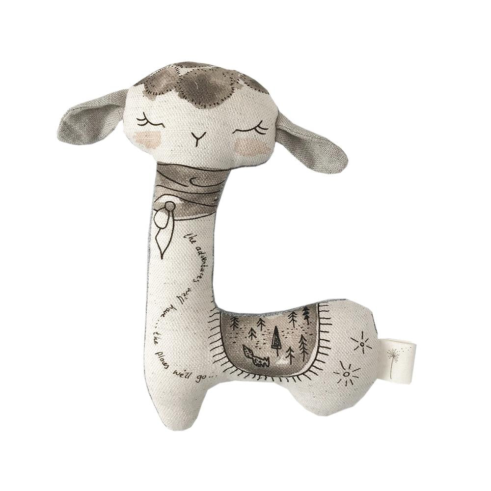 These Little Treasures Organic Swaddle and Rattle Gift Pack - Llama