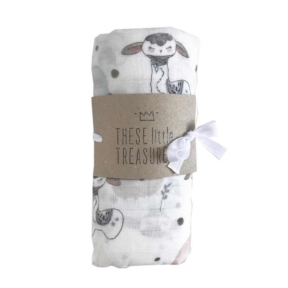 These Little Treasures Organic Baby Swaddle - Llama