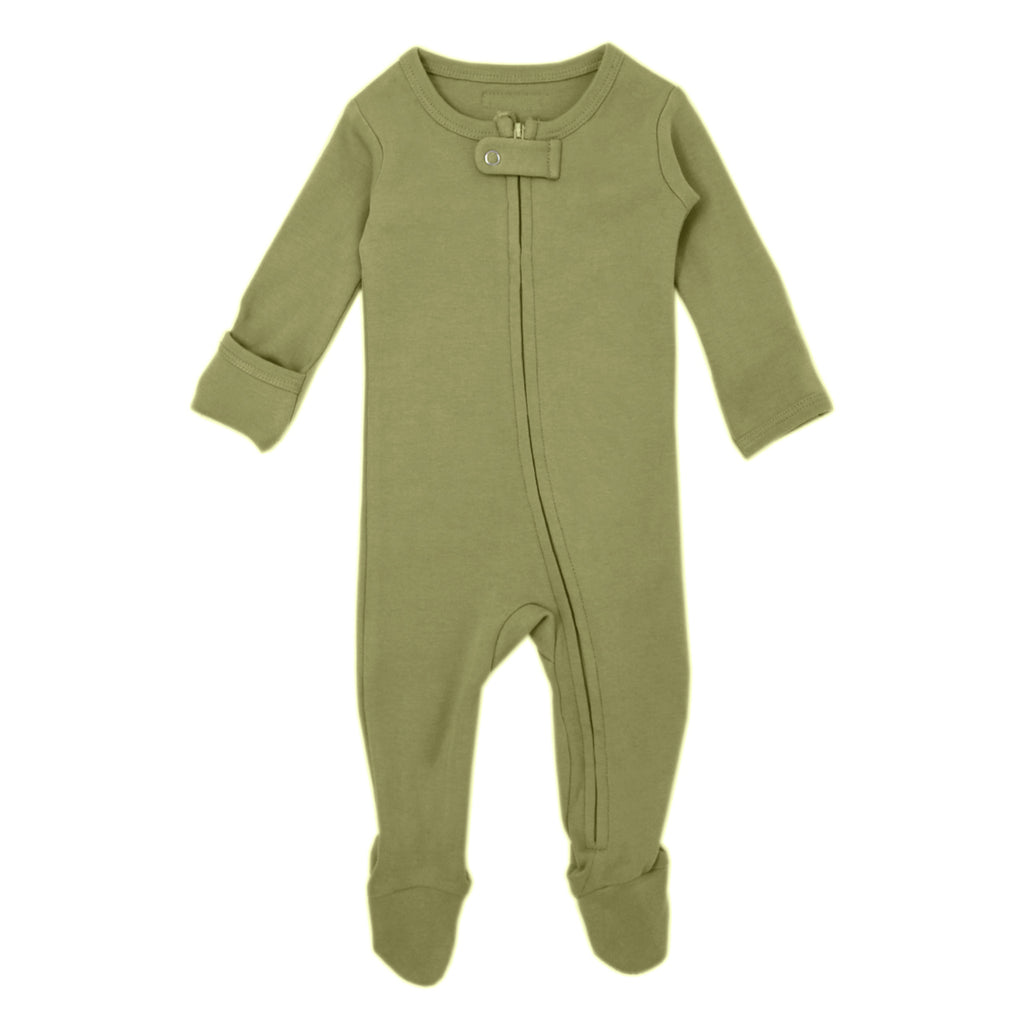 Loved Baby Organic Cotton Footed ZIP Onesie - Sage