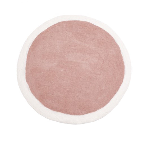 Muskhane Handmade Felt Lumbini Rug  Natural and Dusty Pink