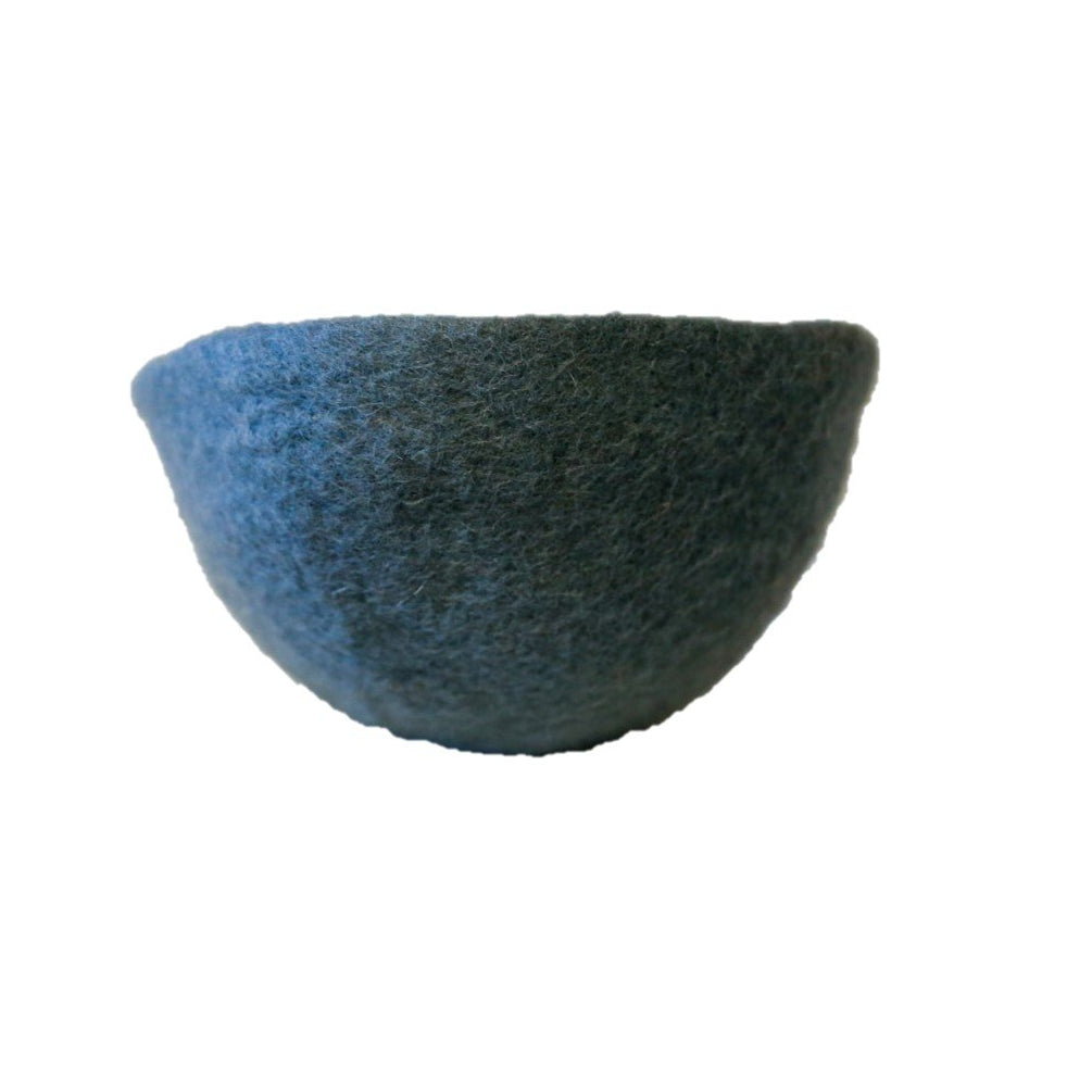 Muskhane Handmade Kids Felt Storage Basket - Plain Bowl Mineral Blue