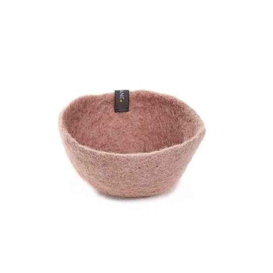 Muskhane Handmade Kids Felt Storage Basket - Plain Bowl Dusty Pink