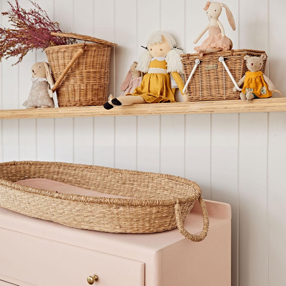 Olli Ella Luxe Organic Cotton Changing Basket Liner  Rose