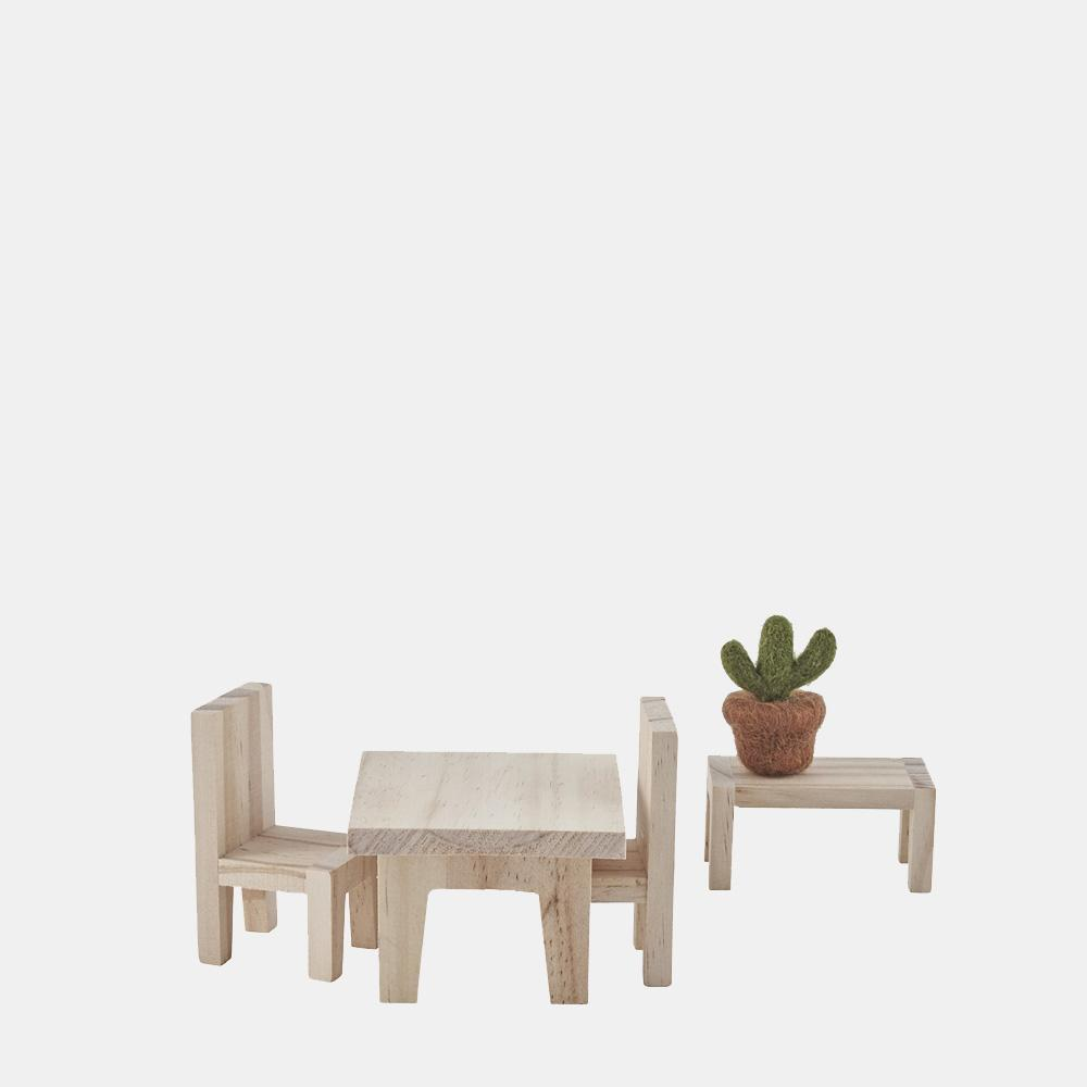 Olli Ella Holdie House Portable Wooden Doll House Furniture  Dining Set