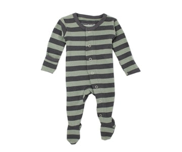 Loved Baby Organic Cotton Footed Onesie - Seafoam and Grey Thick Stripe