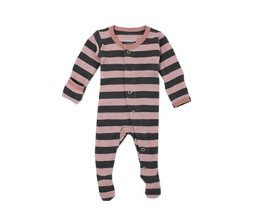 Loved Baby Organic Cotton Footed Onesie - Mauve and Grey Thick Stripe