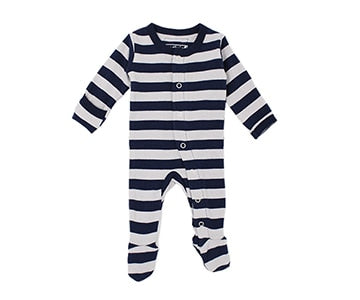 Loved Baby Organic Cotton Footed Onesie - Navy and Light Grey Thick Stripe